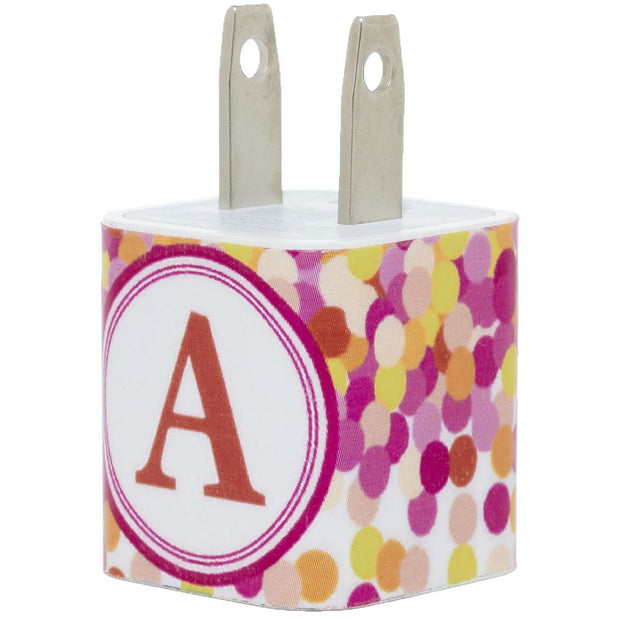 Orange Sprinkle Dot Single Initial Phone Charger - Classy Chargers