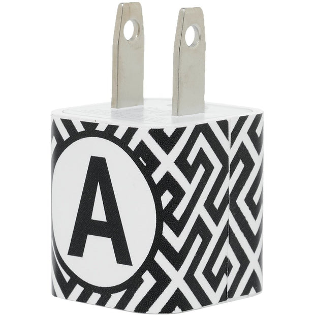 Modern Black White Single Letter Phone Charger - Classy Chargers