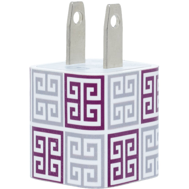Maroon Silver Greek Key Mix Phone Charger - Classy Chargers