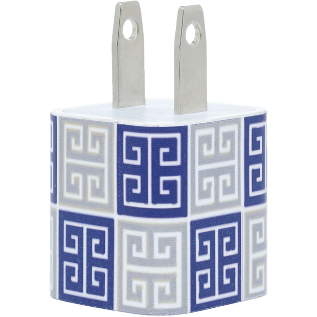 Navy Silver Greek Key Mix Phone Charger - Classy Chargers