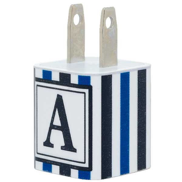 Black Blue Stripe Single Letter Phone Charger - Classy Chargers