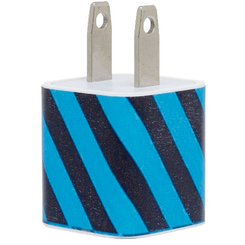 Blue Sideways Stripe Phone Charger - Classy Chargers