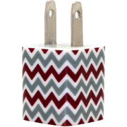 Maroon Silver Chevron Phone Charger - Classy Chargers