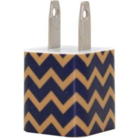 Gold Navy Chevron Phone Charger - Classy Chargers