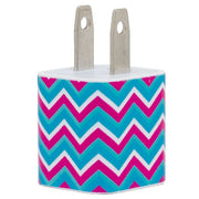 Pink Turquoise Chevron Phone Charger - Classy Chargers