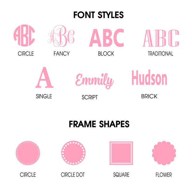 Examples of font styles and frame shapes to use on customized products - Classy Chargers