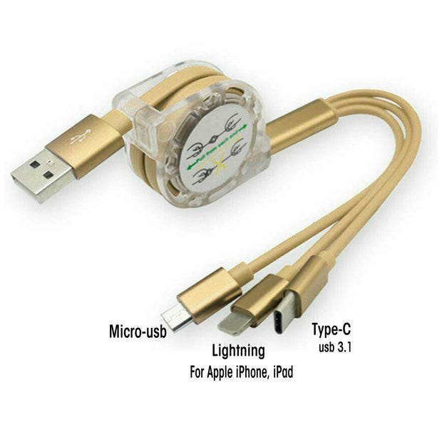Gold Retractable 3 in 1 USB Cable - Classy Chargers