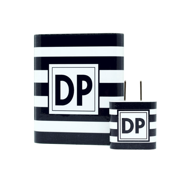 Monogram Black Stripe Dual Power Bank - Classy Chargers