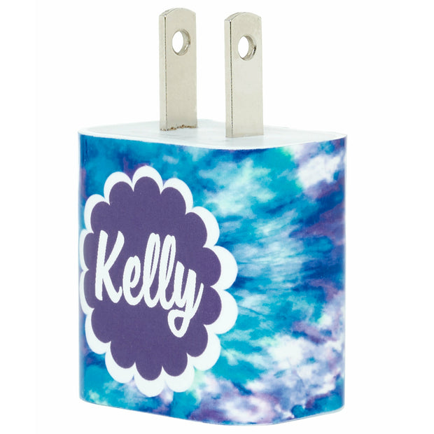 Monogram Blue Tie Dye Phone Charger