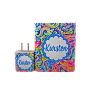 Monogram Summer Floral Swirl Dual Battery Set - Classy Chargers