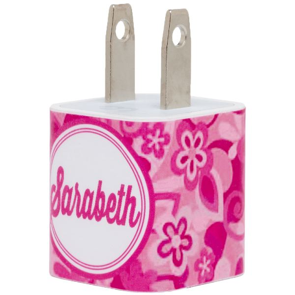 Monogram Pink Floral Swirl Phone Charger - Classy Chargers