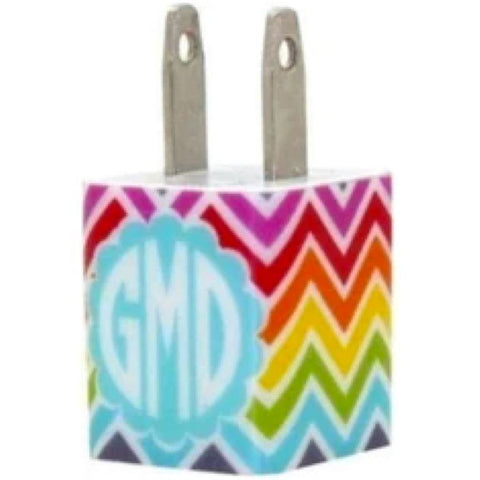Monogram Multi Chevron Phone Charger - Classy Chargers