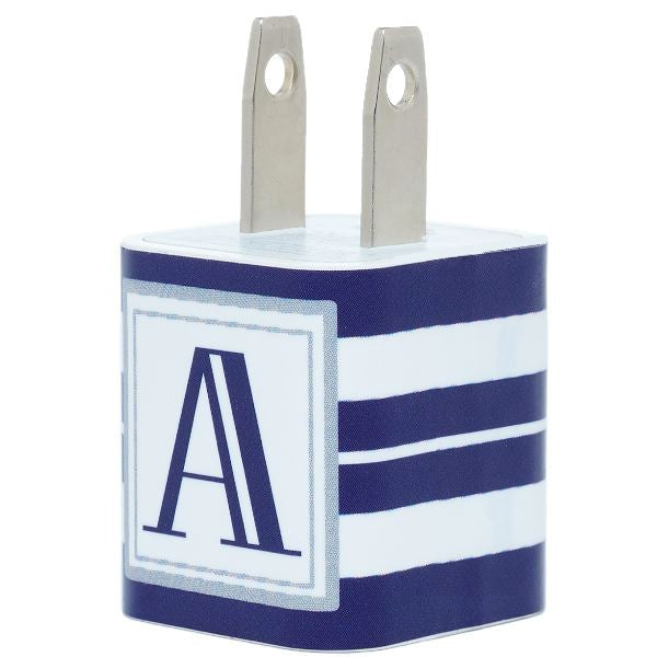 Navy Wide Stripe Single Letter Phone Charger - Classy Chargers