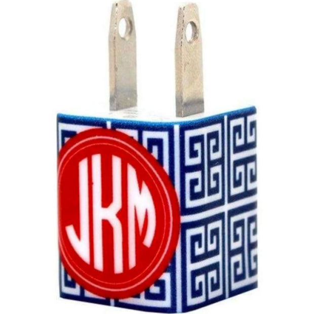 Monogram Navy Greek Key Phone Charger