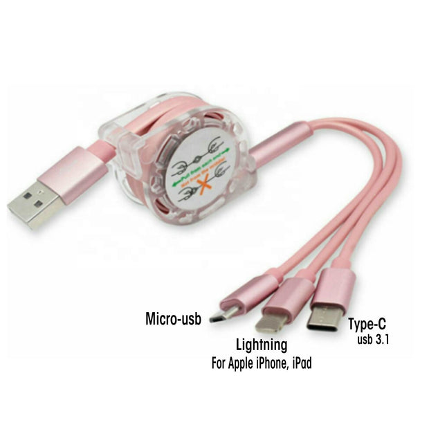 Pink Retractable 3 in 1 USB Cable - Classy Chargers