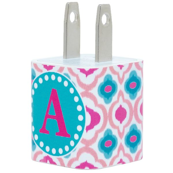 Pink Blue Quatrefoil Single Letter Phone Charger - Classy Chargers