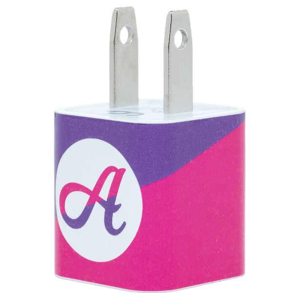 Pink Purple Split Single Letter Phone Charger - Classy Chargers