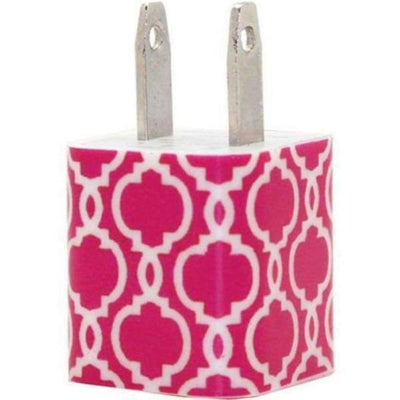 Hot Pink Quatrefoil Phone Charger - Classy Chargers