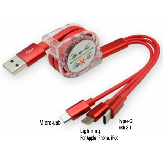 Red Retractable USB Cable - Classy Chargers
