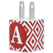 Red Diamond Single Letter Phone Charger with Cable