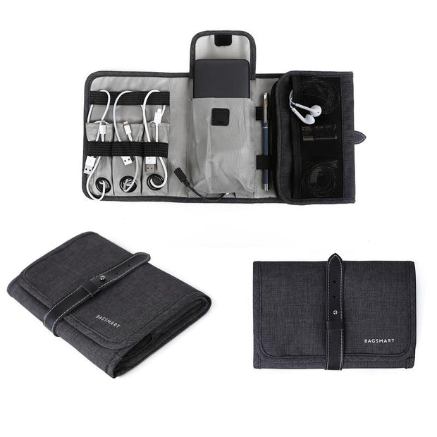 Tri- Fold Cable Organizer Tech Bag
