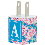 Rose Swirl Single Letter Phone Charger - Classy Chargers