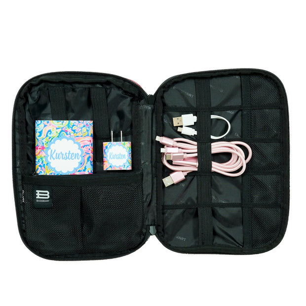 Summer Floral Swirl Monogram Tech Bag Kit Inside View - Classy Chargers