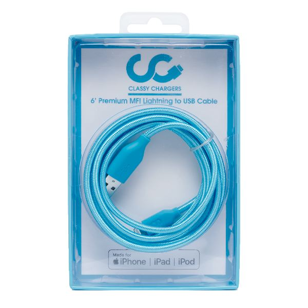 Turquoise Blue Apple Certified MFI Lighting Cable- 6 FT- Classy Chargers