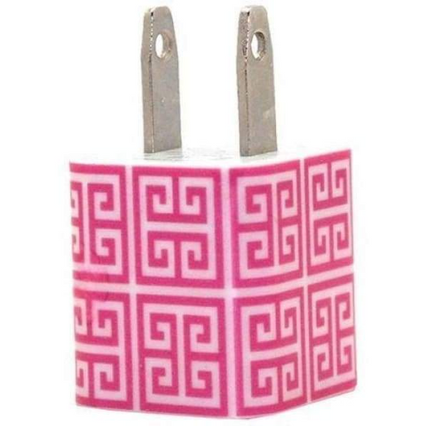 Hot Pink Greek Key Phone Charger - Classy Chargers