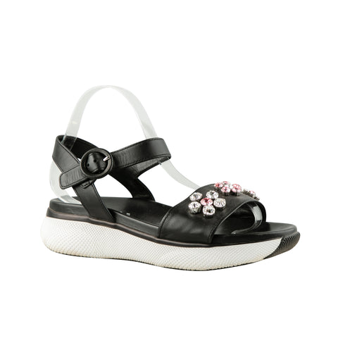Prada Leather with Floral Jewelled Embellished Sandals