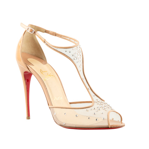 online retailer 46b2a 5c6eb Christian Louboutin 'Patinana' Mesh with Rhinestones Embellished Stiletto  Sandals