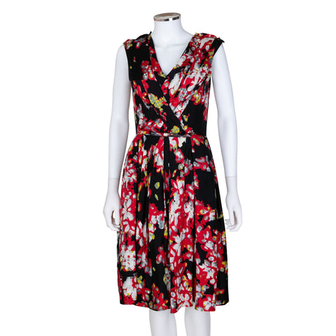 Oscar de la Renta Pixelated Print Silk Dress