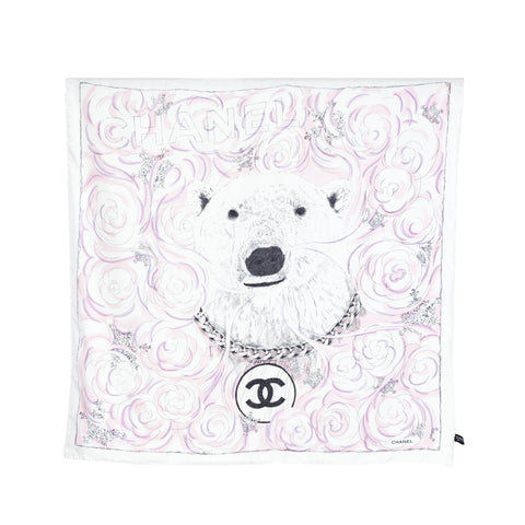 Chanel NEW Silk Polar Bear Graphic Print Scarf
