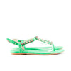 Balenciaga Studded Green Leather Flat Sandals