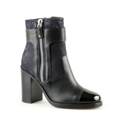 Chanel Leather and Patent Leather Ankle Boot with Tweed Detail