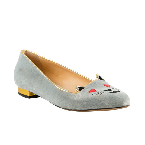 Charlotte Olympia Velour 'Kitty' Flats
