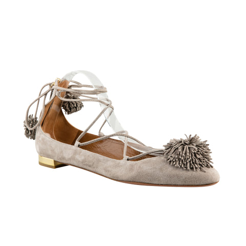 Aquazzura 'Sunshine' Suede Tie Up Flats with Pom Pom