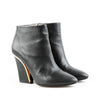 Chloe Pebbled Leather Ankle Boots with Gold Trim
