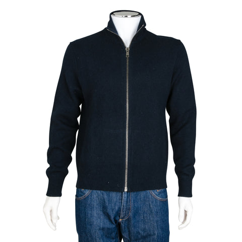 Prada Navy Blue Zip Up Knit Sweater