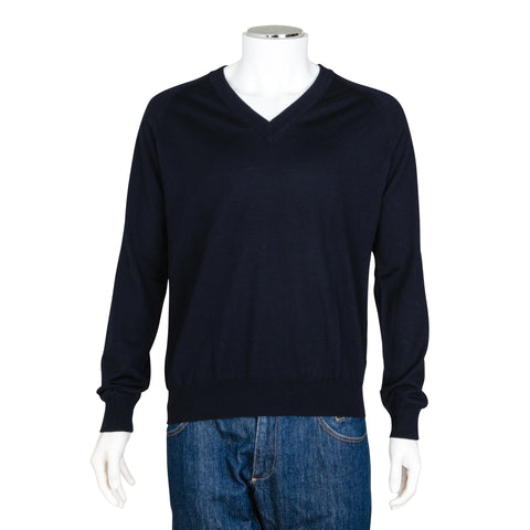 Prada Navy Blue V-Neck Knit Wool Sweater