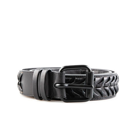 Haider Ackermann Black Braided Leather Belt