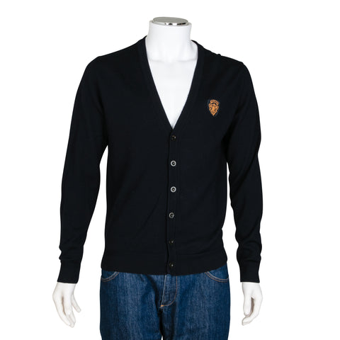 Gucci Navy Blue Knit Cardigan with Emblem