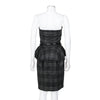 Gucci Strapless Plaid Peplum Dress