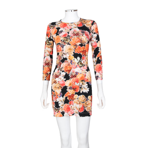 Givenchy Floral and Butterfly Motif Printed L/S Mini Dress