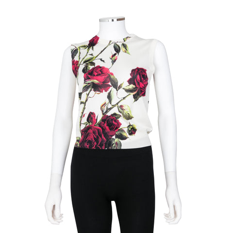 Dolce & Gabbana Sleeveless Rose Floral Print Knit Top