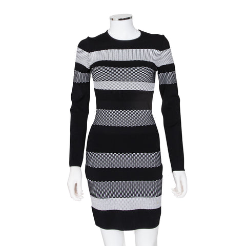 Alexander Wang Striped Long Sleeve Fitted Dress
