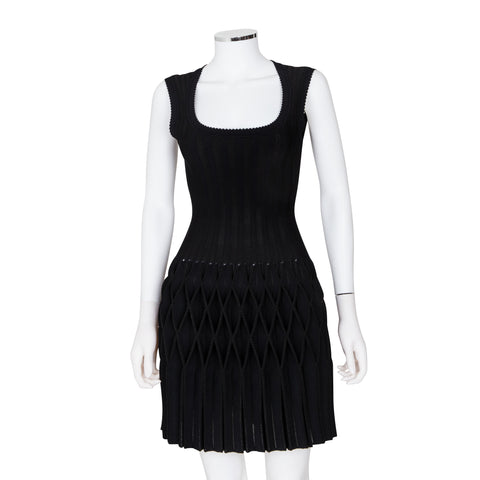 Alaïa Black Origami Pleated Sleeveless Dress