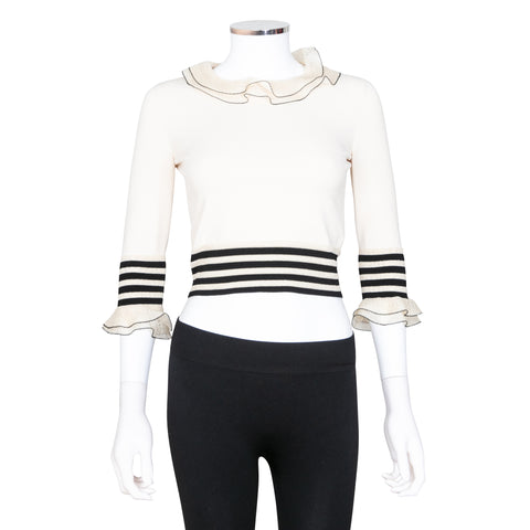 Alexander McQueen Cropped Top with Stripes and Ruffles