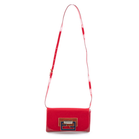 Fendi Red Patent Leather Crossbody Flap Bag