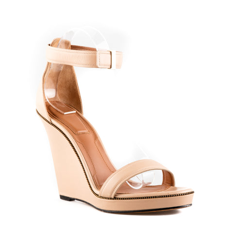 Givenchy Zip-detailed Leather Wedged Sandals